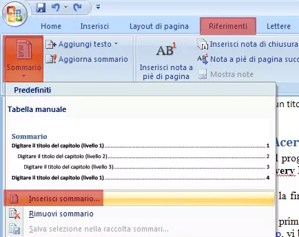 Come aggiungere un sommario ad un documento Word