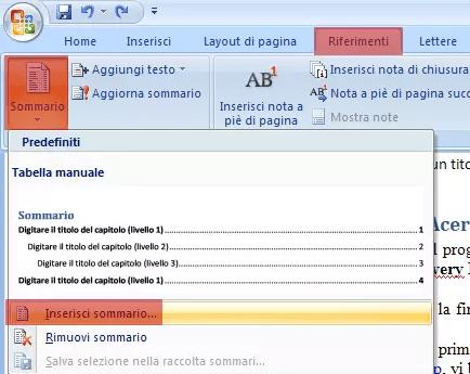 Come aggiungere un sommario ad un documento Word