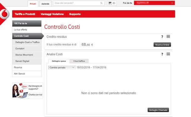 Come sapere credito Vodafone